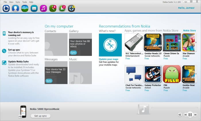 نوكيا بي سي سويت للكمبيوتر ، Nokia Pc Suite Free
