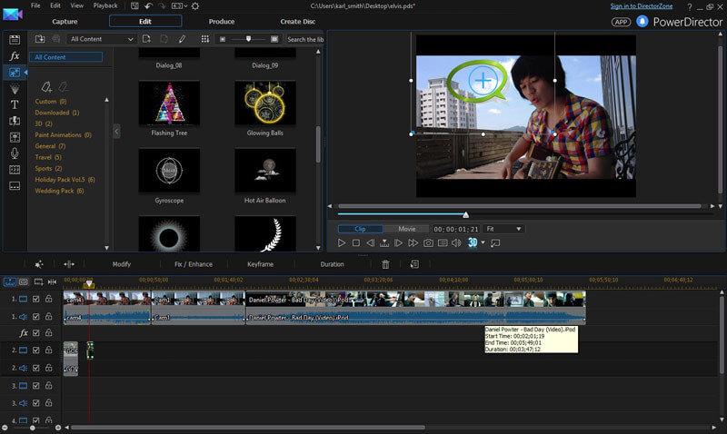 برنامج تعديل وتحرير الفيديو ، دمج اللقطات ، عمل الافلام المنزلية ، PowerDirector
