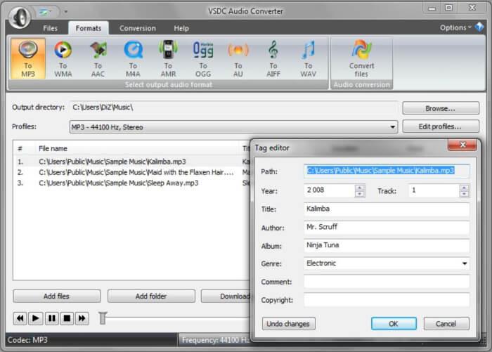 محول الصوتيات ، برامج التحويل ، تحويل الفيديو الى صوت ، محول الصيغ الصوتية ، VSDC Free Audio Converter