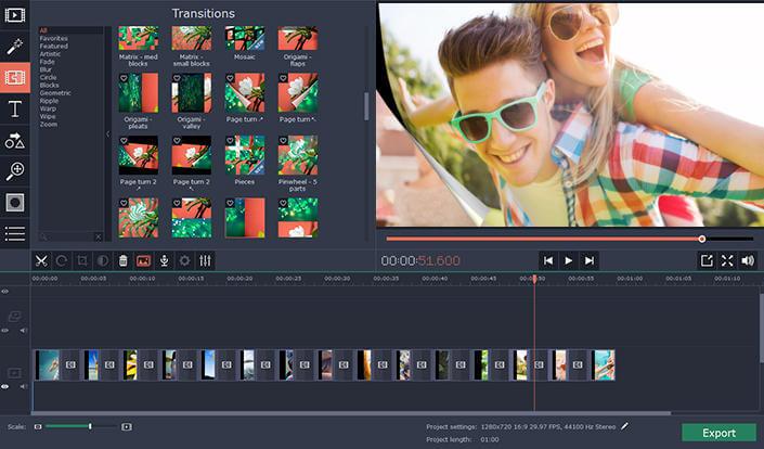 برنامج مونتاج الفيديو والكتابة عليه ، دمج الصور على شكل فيديو ، Movavi Video Editor