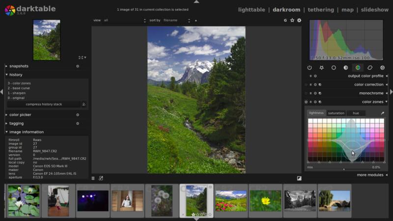 برنامج تحرير الصور وإضافة التأثيرات عليها ، محرر الصور ، برنامج معالجة الالوان ، Darktable