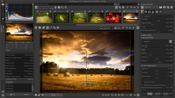 محرر الصور ، تحسين جودة الصور وإضافة التأثيرات ، معالجة الالوان ، اصلاح عيوب الصور ، Raw Therapee