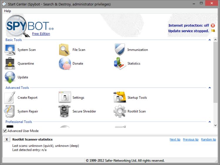 حذف الملفات الضارة ، برنامج مسح ملفات التجسس ، انتي سباي ، كي لوجر ، Download Spybot