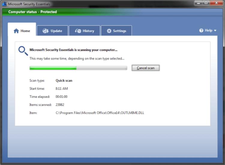 مسح الفيروسات والمالوير ، برنامج حماية من ميكروسوفت ، تأمين المعلومات ، مضاد الاكواد الخبيثة ، Microsoft Security Essentials