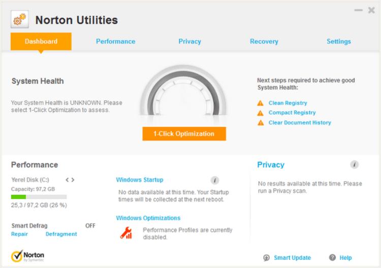 إصلاح مشاكل الويندوز ، تنظيف الكمبيوتر من الملفات الزائدة ، حماية الخصوصية ، Download Norton Utilities