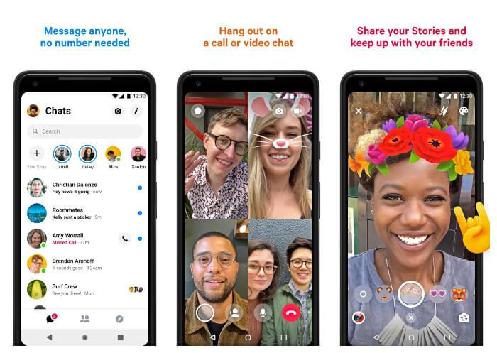 برنامج لعمل محادثات مع الأصدقاء والعائلة ، تطبيق فيس بوك ماسنجر ، برامج الاندرويد ، إلتقاط الصور مع التأثيرات ، Download Facebook Messenger