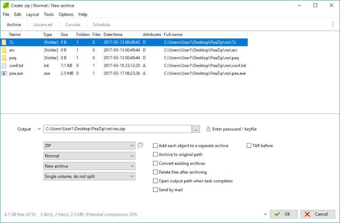 ضغط التطبيقات ، إضافة ملفات الى الارشيف ، تقسيم ملف الى اجزاء ، download Peazip