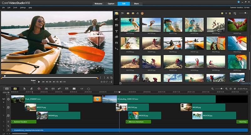 معالجة وتحرير مقاطع الفيديو ، قص الاجزاء غير المرغوب فيها ، دمج الوسائط ، عمل عروض الشرائح ، Download Corel Video Studio