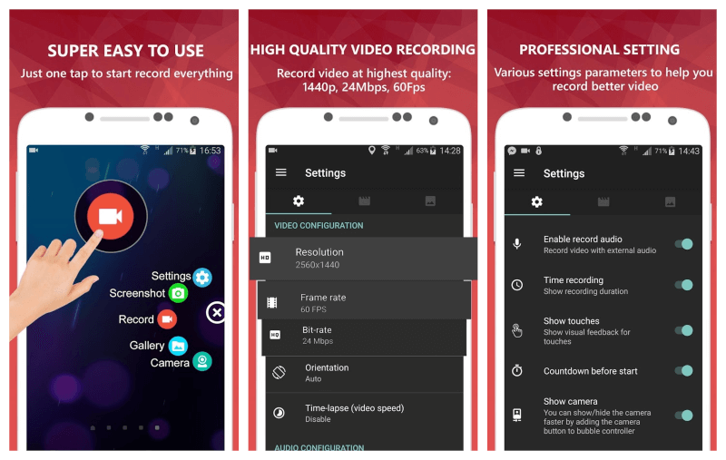 تحميل تطبيق تصوير الشاشة للاندرويد 2021 AZ Screen Recorder مجانا