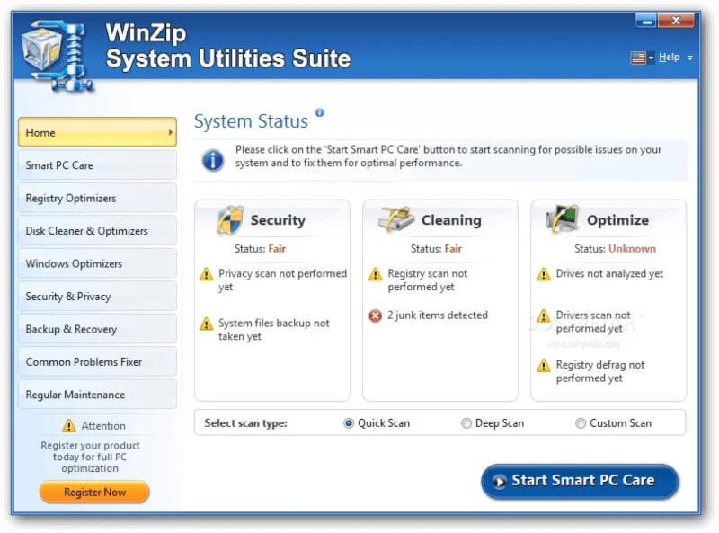 تحميل برنامج تنظيف وتسريع النظام 2021 WinZip System Utilities للكمبيوتر