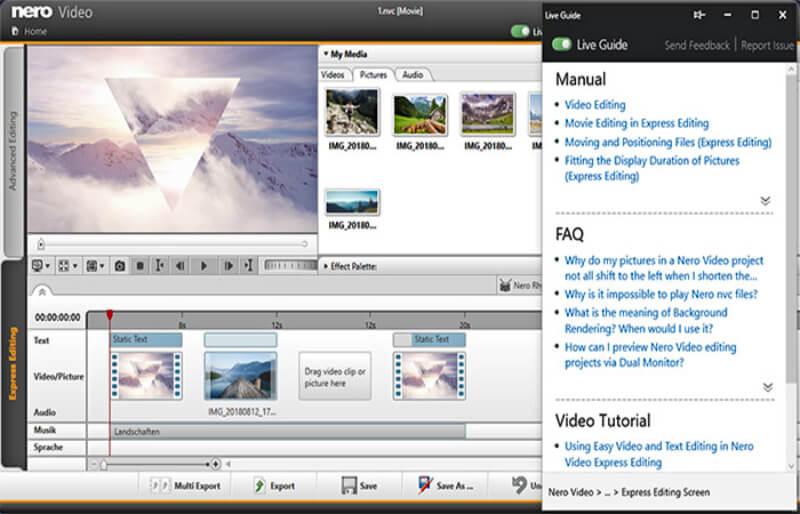مونتاج الفيديو ، نيرو لتعديل المقاطغ ، اضافة التأثيرات ، الكتابة على المقاطع