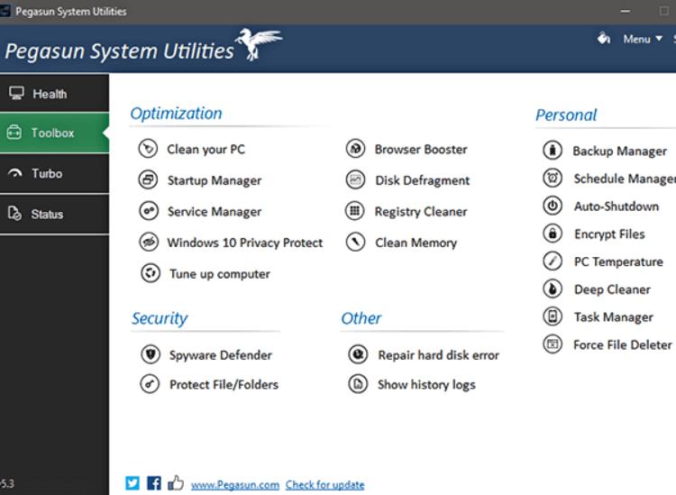 افضل برنامج لتنظيف الكمبيوتر 2021 Pegasun System Utilities