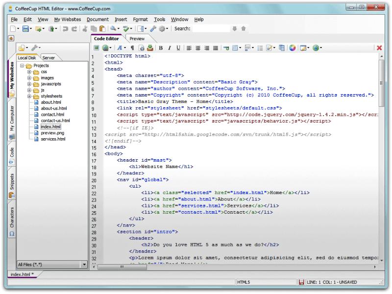تحميل محرر اكواد الاتش تي ام ال CoffeeCup HTML Editor
