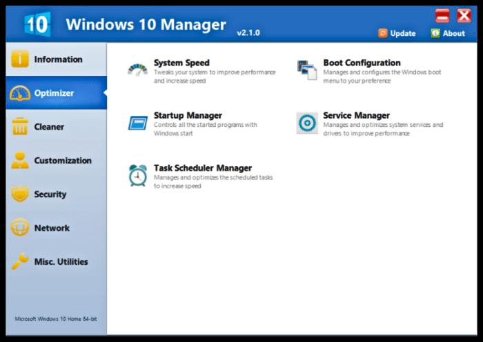 برنامج لاصلاح و ادارة الويندوز Windows 10 Manager