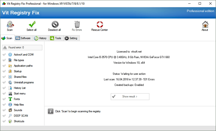 برنامج إصلاح مشاكل الريجستري Vit Registry Fix للكمبيوتر