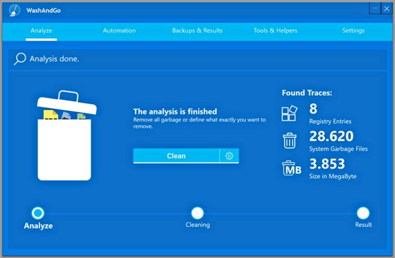 برنامج لتنظيف الجهاز وتحسين ادائه WashAndGo للكمبيوتر
