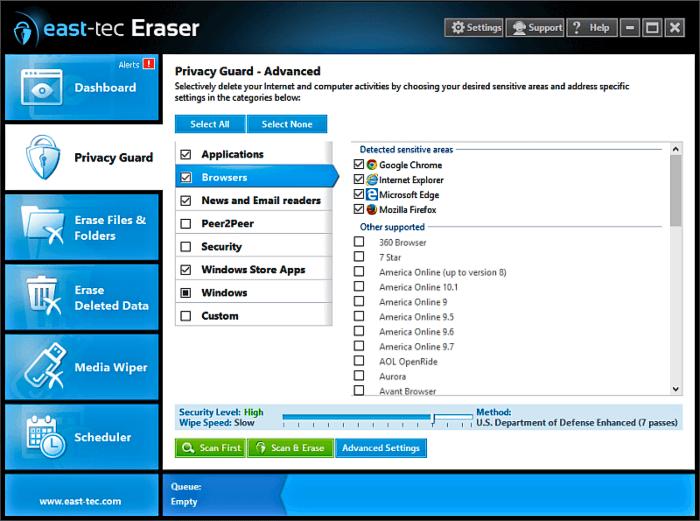 برنامج حذف الملفات الحساسة وحماية الخصوصية East-Tec Eraser للكمبيوتر