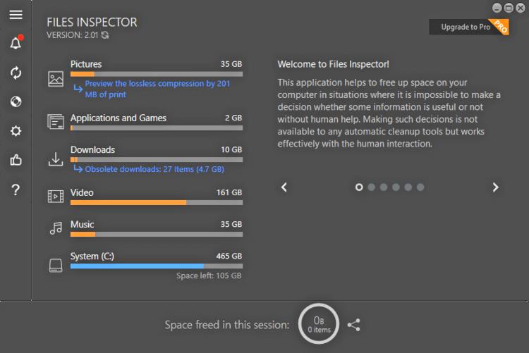 برنامج تحرير مساحة الهارد ديسك Files Inspector اخر اصدار