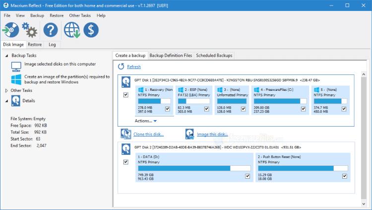 برنامج انشاء نسخ احتياطية من الملفات والويندوز Macrium Reflect