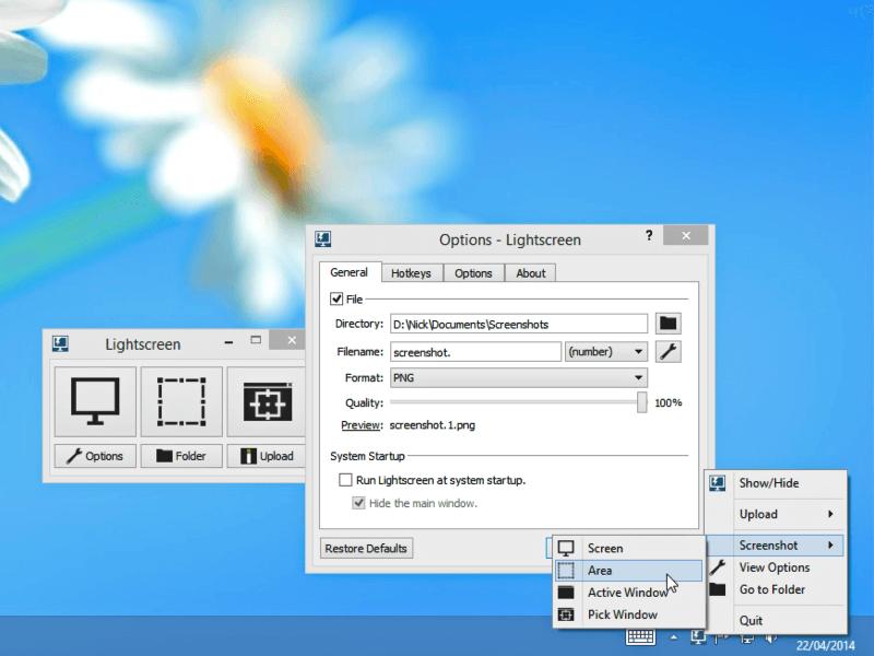 برنامج لالتقاط صور من الشاشة Lightscreen للكمبيوتر